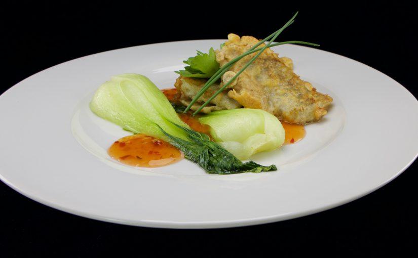 Backfisch an Pak Choi